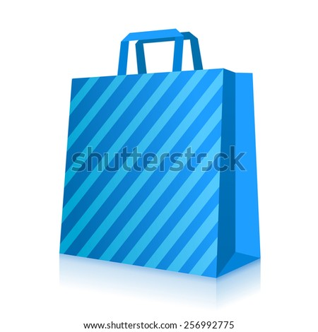 Blue shopping paper bag with stripes