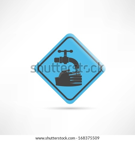 blue sign wash your hands icon - stock vector