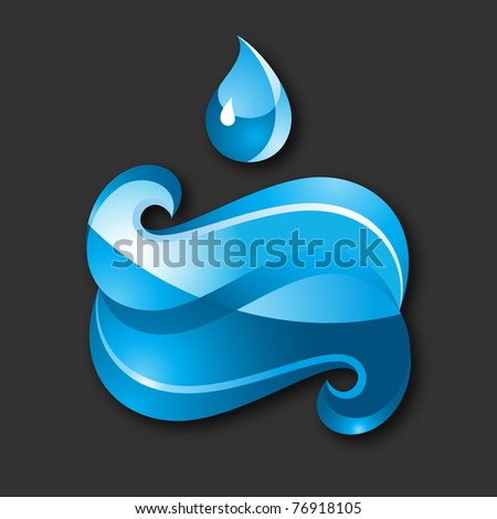 Blue Sign Water-gray background. 10 EPS - stock vector