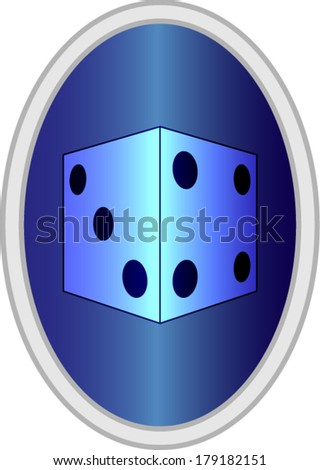 Blue Sign with Dice Vector Drawing eps10 - stock vector