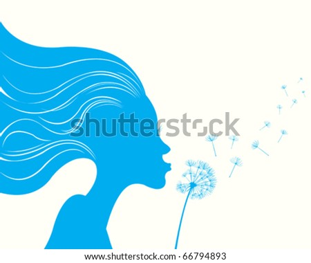Blue silhouette of woman and dandelion - stock vector