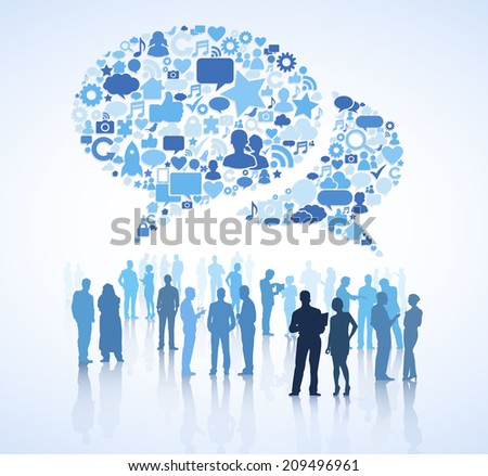 Blue silhouettes of business people discussing and giant speech bubble formed with global networking themed symbols. - stock vector