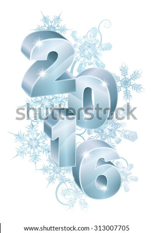 Blue silver 2016 and abstract snowflakes and swirls ornament decorations Christmas or New Year design.