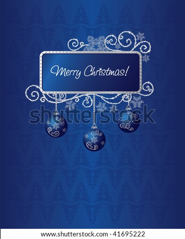 Blue & silver Christmas card illustration - stock vector