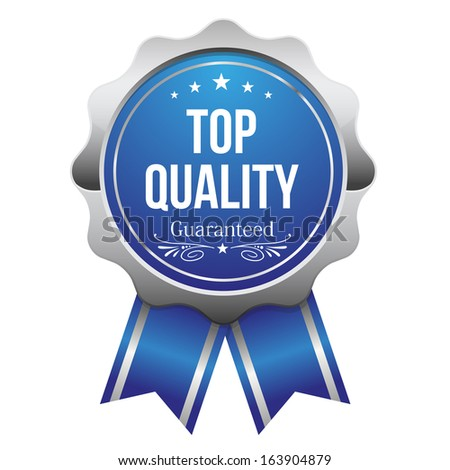 Blue silver top quality badge with ribbon - stock vector