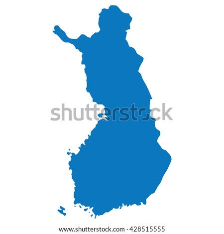 Blue similar blank Finland map isolated on white background. Clean template for your design and infographics