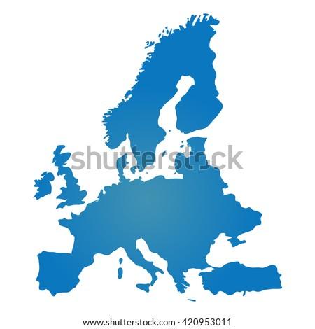 Blue similar Europe map. Europe map blank. Europe map vector. Europe map flat. Europe map template. Europe map object. Europe map eps. Europe map infographic. Europe map clean. Europe map art.  - stock vector