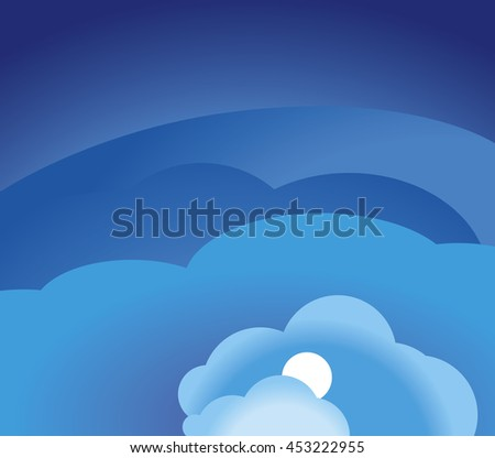 Blue sky and clouds. Vector illustration