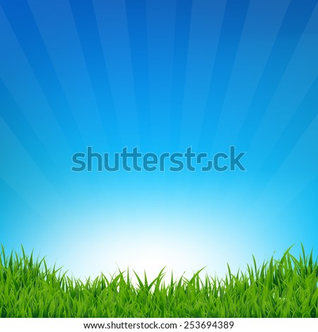 Blue Sky And Grass Sunburst Background With Gradient Mesh, Vector Illustration - stock vector