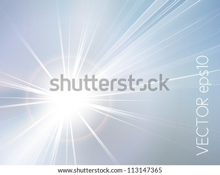 Blue sky and sun abstract background - stock vector