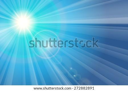 Blue sky and sun. The rays of the sun - stock vector