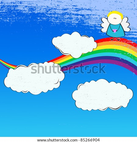 Blue Sky background with clouds, angel and rainbow - stock vector