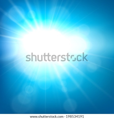 Blue sky blurry background with sun. Vector illustration.