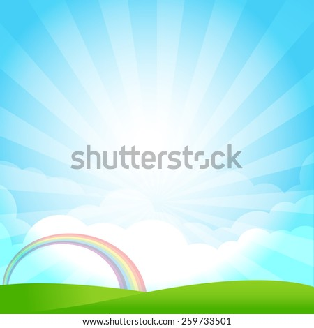 Blue sky cloud sunburst and green field vector illustration - stock vector