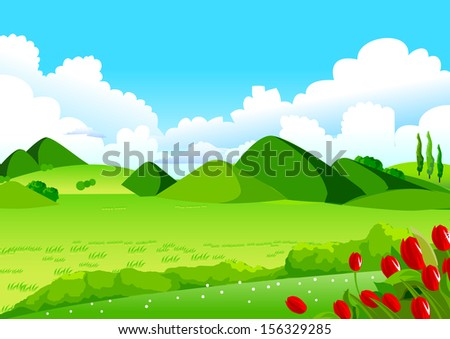Blue Sky, Green Fields and Distant Hills. This illustration is a common natural landscape. Rolling landscape, Blue Sky, Green Fields and Distant Hills for Your Creative Needs. - stock vector
