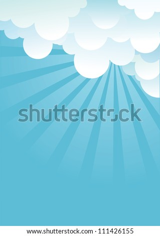 Blue sky with beautifull clouds.Vector image - stock vector