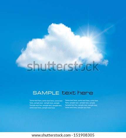 Blue sky with cloud and sun. Vector background.  - stock vector