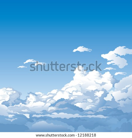 blue sky with clouds - stock vector