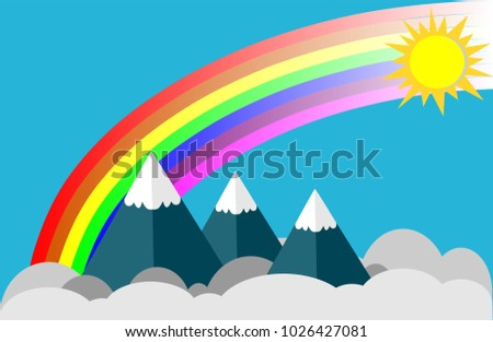 Blue sky with clouds and rainbow illustration vector