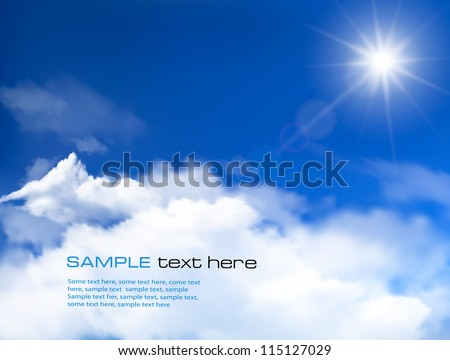 Blue sky with clouds and sun. Vector background. - stock vector