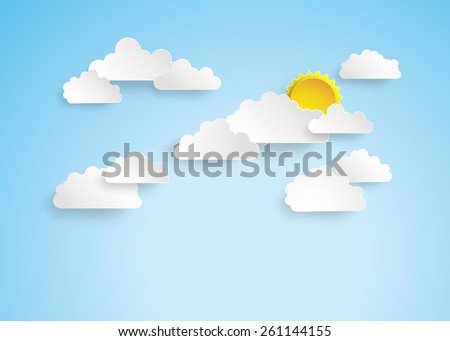 Blue sky with clouds.paper cut style. - stock vector