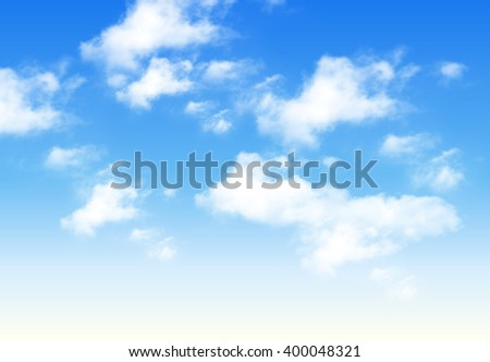 Blue sky with clouds, perfect day vector background.