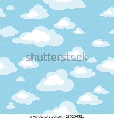 Blue sky with clouds, vector seamless pattern