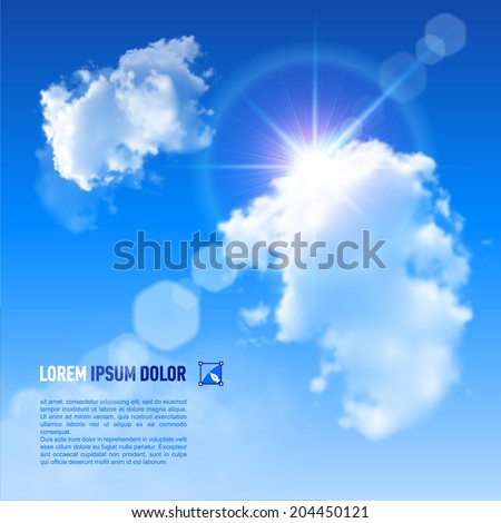 Blue Sky with fluffy clouds and brilliant Sun with a rainbow flare, vector image  - stock vector