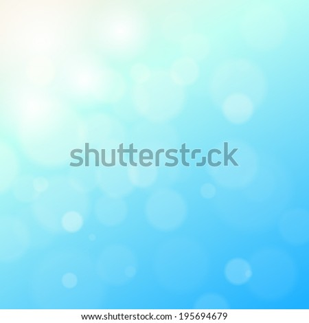 blue sky with lens flare and bokeh pattern background (vector)