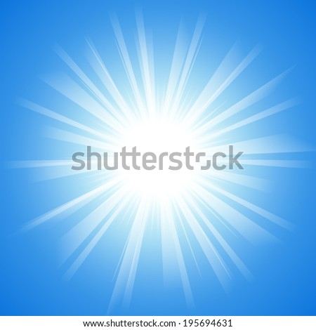 blue sky with light ray pattern background (vector) - stock vector