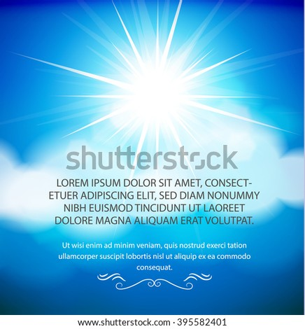 Blue sky with the sun and clouds. Vector illustration - stock vector