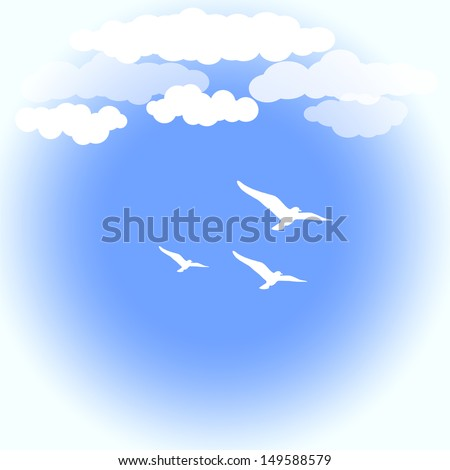 Blue sky with white clouds and seagulls - stock vector