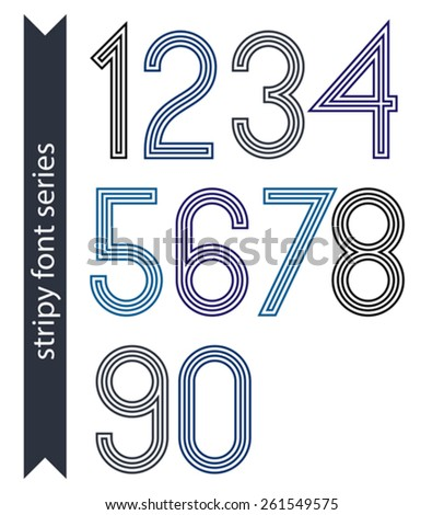 Blue slim numbers, single color delicate digits with triple lines isolated on white background. Standard stripy digits with rounded corners. - stock vector