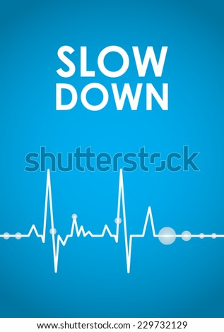blue slow down banner - stock vector