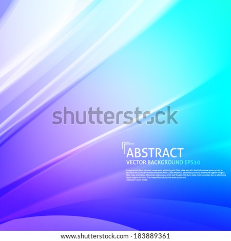 Blue smooth curved light lines vector background design. Eps10 - stock vector