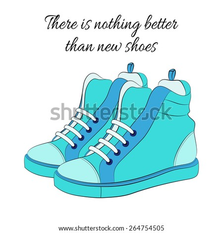 Blue sneakers with laces, vector illustration - stock vector