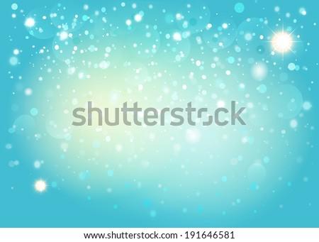 Blue snow bokeh background. Vector EPS10. - stock vector