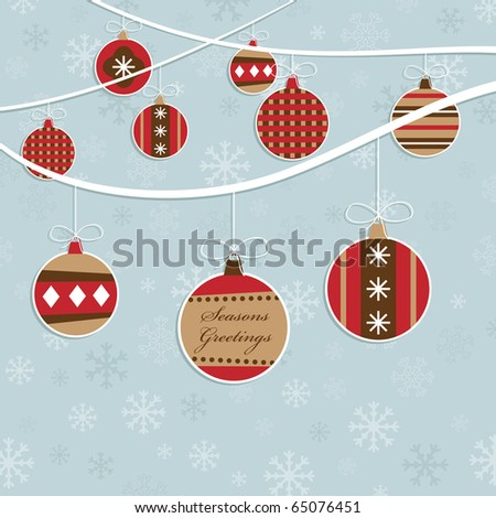 blue snowflake background with christmas hanging decorations - stock vector