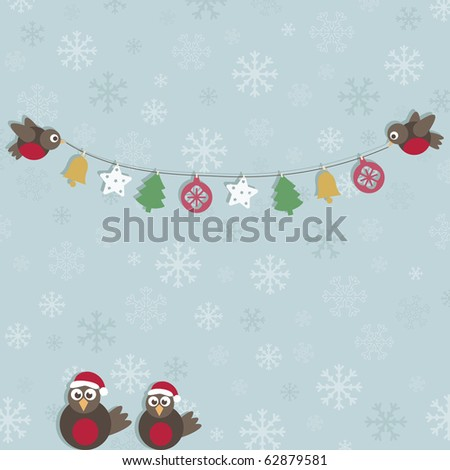 blue snowflake background with christmas robins and decorations - stock vector