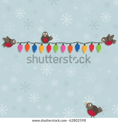 blue snowflake background with christmas robins and lights - stock vector