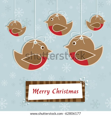 blue snowflake background with hanging christmas robins and frame - stock vector