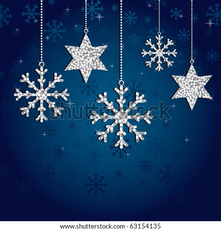 blue snowflake background with silver glitter decorations - stock vector