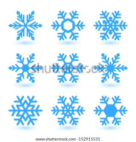 Blue snowflakes and shadow on white background. - stock vector