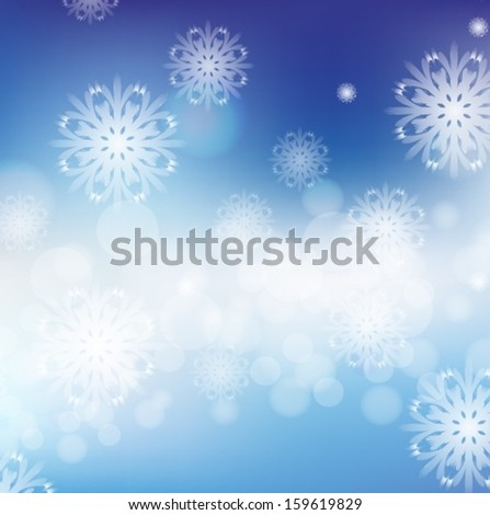 Blue snowflakes Background With Bokeh And Blur. Vector EPS 10 illustration. - stock vector
