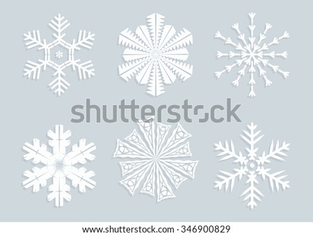 Blue snowflakes collection in paper style with shadow. Winter modern icons. Vector illustration