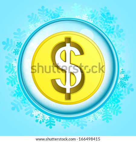 blue snowy circle frame with frozen smart phone inside vector illustration