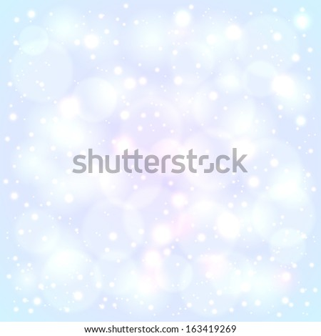 Blue snowy lights blurred background with bokeh effect - stock vector