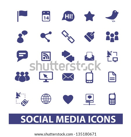 blue social media, networks, blog icons and signs for mobile and web design - stock vector