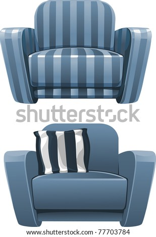 Blue soft stripped armchair - stock vector