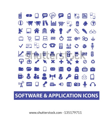 blue software & application icons for mobile and web design - stock vector